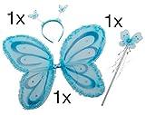 Fee Kostüm Kostüm Prinzessin für Mädchen Feenflügel Eisprinzessin Diadem ZauberstabStirnband Schmetterling Flügel Flügel Umhang mit Stab Zauberstab und Kopf an Fasching und Karneval (Butterfly Set hellblau)