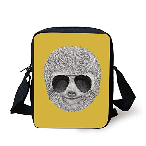 Sloth,Hipster Jungle Animal with Sunglasses Smiling Funny Expression Cool Character Print Decorative,Yelow Grey Print Kids Crossbody Messenger Bag Purse