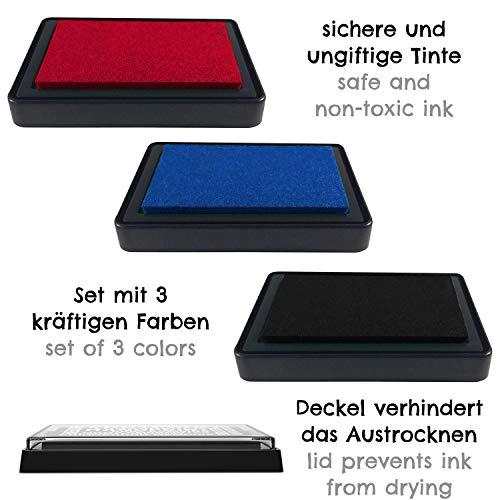 Imagen para Kit de impresión de huellas de mano y pies de Bebé - almohadilla con tinta segura para bebé para impresiones de manos y pies - fácil de lavar (rojo, azul y negro)