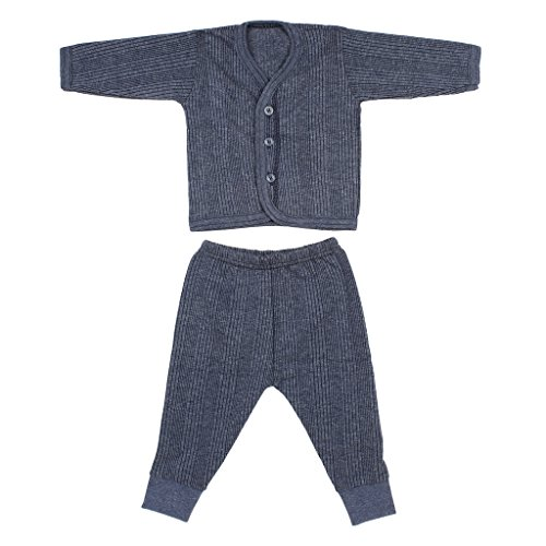 Littly Front Open Kids Unisex Thermal Top & Pyjama Set (10121_BL3_A_Blue_12-18 months)