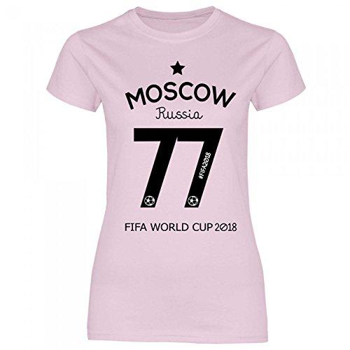 Royal Shirt df8 Damen T-Shirt Russland Russia WM 2018 | Moskau Fußball Trikot, Größe:XXL, Farbe:Light Pink