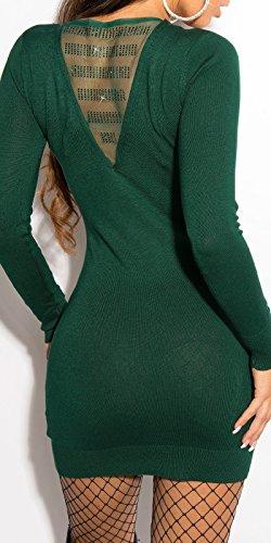 Sexy KouCla con Strass KouCla maglia fine-minivestito by in-Fashion Style SKU 0000ISF8004 Verde