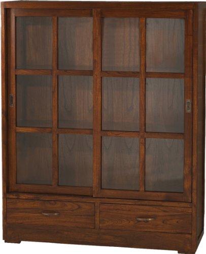 Nomades Design 501042 Bibliothèque avec 2 Tiroirs/2 Portes vitrées coulissantes Bois/Contreplaqué 39 x 120 x 150 cm