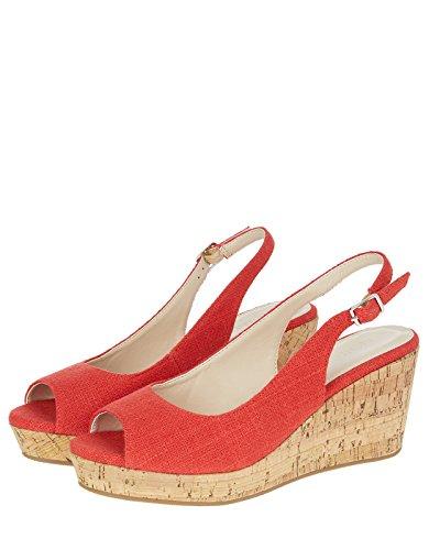 Accessorize Damen Sadie Sling-Pumps mit niedrigem Kork-Keilabsatz - Schuhe 42