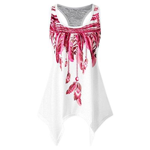 "OVERDOSE Mode Frauen Oberteile Casual Lace Panel Asymmetrische Feder Print Weste Damen Sommer Ã""rmellos Tank Tops Bluse T-Shirt"