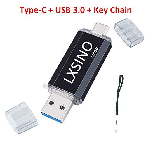 lxsino dual flash drive 32gb 64gb usb-c/type-c/usb3.1 + usb 3.0 otg jump-drive for type-c smartphones, samsung galaxy s9, note9, s8, s8, lg g6, google pixel xl, tablets macbook nero nero 128 gb
