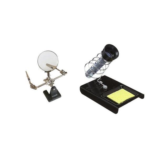 Silverline 633830 Lupa con pinzas 63 mm 2,5x + 427552 – Soporte para