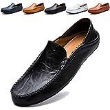 KAMIXIN Mokassins Slipper Herren Fahren Schuhe Leder Loafers Slip on Handgefertigt Flache Business Schuhe Halbschuhe Schwarz 47EU