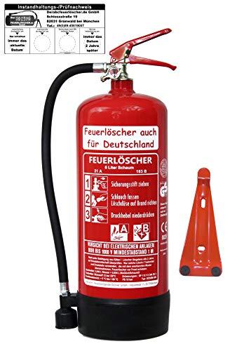 6 L Schaum Feuerlöscher Brandklasse AB DIN EN3 GS + Wandhalter + Manometer + Standfuß, 21 A, 144 B, 6 LE Schaumlöscher (Mit Prüfnachweis und Jahresmarke)
