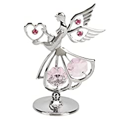 Idea Regalo - Crystocraft-Supporto Mini Sacred angelo con cuore_cromata con Strass e cristalli Swarovski