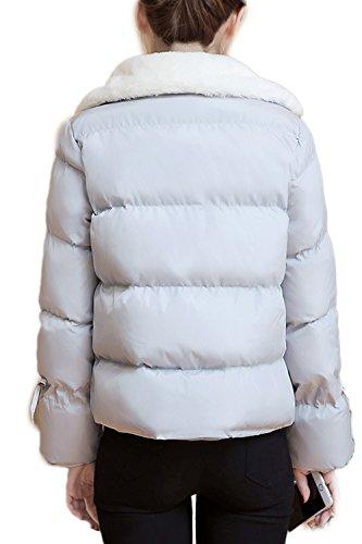 Damen Casual Wolle Oberbekleidung Pelzmantel Grey
