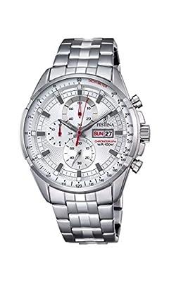 Festina ChronoF6844/1 - Reloj de pulsera con cronógrafo para hombre (mecanismo de cuarzo, esfera plateada y correa de acero inoxidable plateada) de Festina