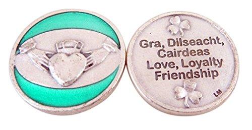 Religious Gifts Silberne Boden grün Emaille Liebe Treue Freundschaft Irish Pocket Token, 11/20,3cm (Irische Claddagh-ring Für Männer)