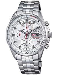 Festina ChronoF6844/1 - Reloj de pulsera con cronógrafo para hombre (mecanismo de cuarzo, esfera plateada y correa de acero inoxidable plateada)