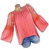 Milktea Damen Blusen Tops T-Shirt Mode Oansatz Bluse Blumenstickerei Spitze Flare Sleeve T-Shirt Tops