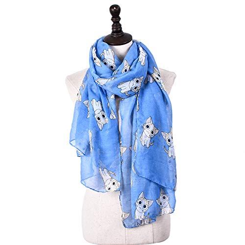 Xiaochou@sl Cartoon Cat Print Schal Balinese Garn Frühling/Sommer/Herbst/Winter Schal Multifunktions Anti-Cool Cooling Maßnahmen 6 Farben für Frauen (Color : Blue) -