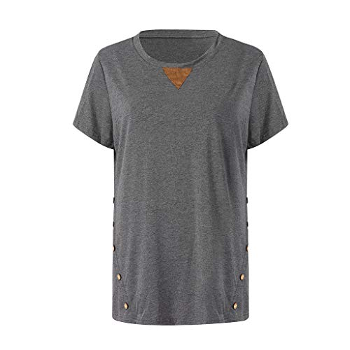 Musheng Damen top Women's Casual Tops Round Neck Short Sleeve Button Blouse (Grau, M) -