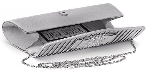 VINCENT PEREZ Borsetta, Borsa a tracolla, Pochette di raso increspato con strass e tracolla rimovibile (120cm) grigio