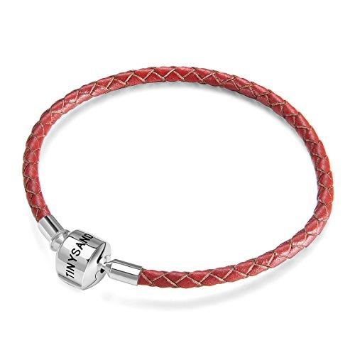 Tinysand donna bracciale intrecciato in pelle rosso con fibbia in argento 925 adatto per charm di pandora, tre misure disponibili