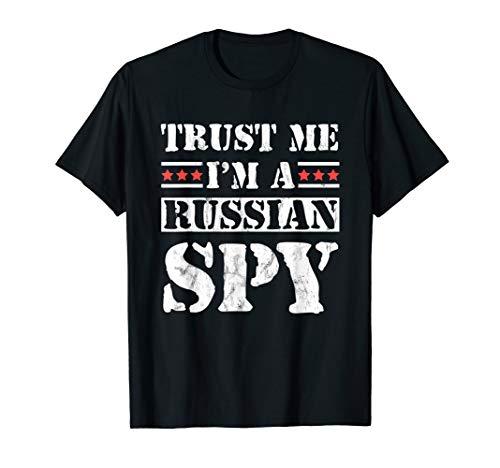 Vertrauen Sie, ich bin ein russischer Spion USSR Sowjet T-Shirt (Black Spy Kostüm)