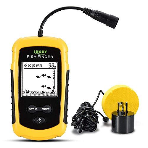 WYYHAA Fischfinder, tragbare wasserdichte Sonarwarner-Alarm-LED-Hintergrundbeleuchtung 0,7-100 m Fischen-Echolot-Sensor, Sonar-Genauigkeit bis zu 0,1 m für alle Fischenarten Freizeit