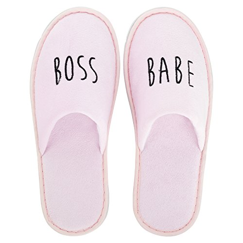 likalla Wellness-Slipper / Hotel-Slipper - geschlossen - bestickt mit Statements GRL PWR, GIRL GANG, boss babe - schwarz, weiß, rosa - einzeln und 3 / 5 / 10 Paar im Set rosa, 5 Paar