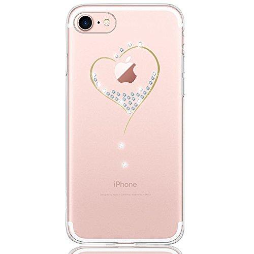 DAPP® kompatibel mit iPhone 7/8 Hülle, Dolce Vita Serie Transparente Silikon Handyhülle für Damen/Mädchen, Durchsichtig mit Glitzer Kristall Herz Motiv