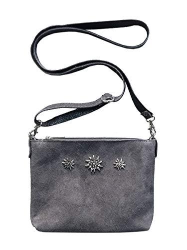 Trachtentasche Dirndltasche kleine Umhängetasche Clutch Wild-Leder grau -