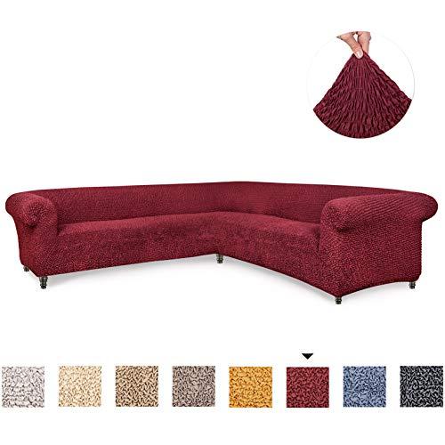 Menotti L-Form Ecksofa-Überzug für Sofa und Sessel, elastischer Stoff, Bordeaux, Corner