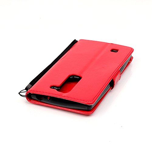 Camiter Prägung Schmetterling Wallet Case Schutzhülle Standfunktion Handytasche Hülle Magnetverschluss Klapp Brieftasche Lederhülle Weich Silikon Skin Back Cover für Apple iPhone 4 /4S (Gold) + Freies Red