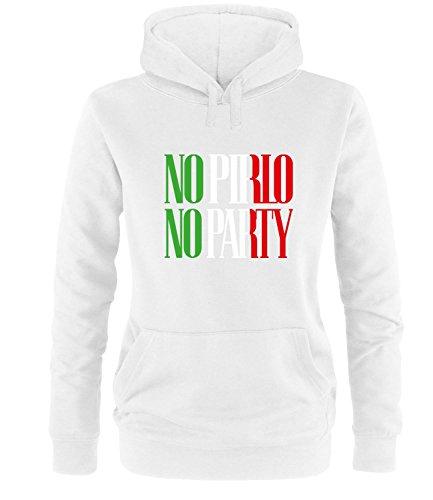 Luckja EM 2016 Trikot Italien Fanshirt No Pirlo No Party EM03 Damen Hoodie
