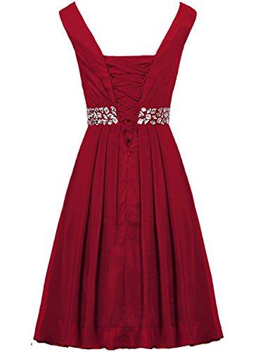 Azbro Women's V Neck Sleeveless Rhinestone Cocktail Bridesmaid Dress Watermelon Red