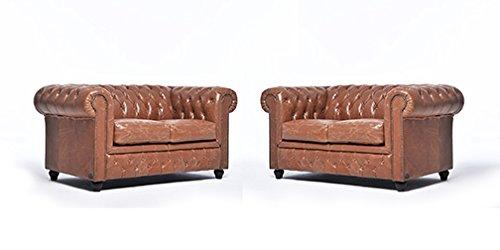 Original Chesterfield Sofas – 2 / 2 Sitzer – Vollständig Handgewaschenes Leder – Vintage Mokka