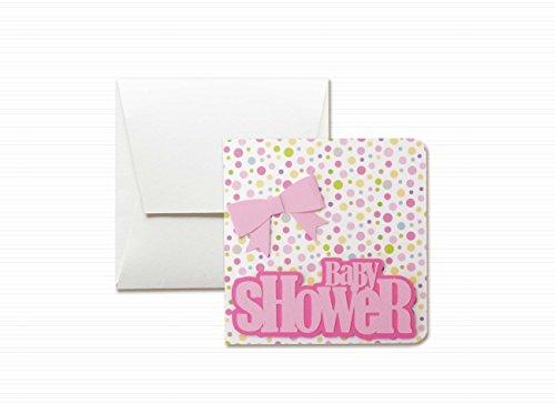 Baby shower - fiocco rosa - bambina - biglietto d'auguri (formato 12 x 12 cm) - vuoto all'interno, ideale per il tuo messaggio personale - realizzato interamente a mano.