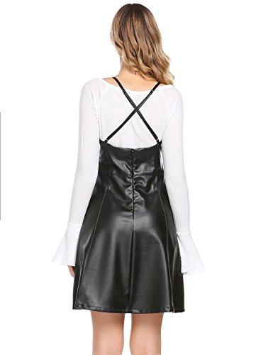 Damen Lederkleid Ärmellos Partykleid Wetlook Knielangkleid Clubwear LederKleider Frauen Spagettiträger Kleid Schwarz