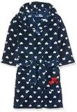 Playshoes Kinder Fleece-Bademantel mit Kapuze, flauschiger Morgenmantel für Mädchen, mit Eingrifftaschen, Herzchen-Stickung allover