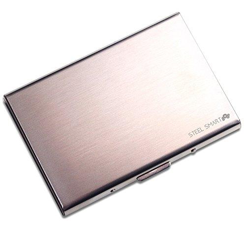 Steel Smart RFID-Schutzhülle für Kreditkarten, Bankkarten, Kundenkarten, Ausweis - Visitenkartenetui aus gebürstetem Edelstahl - Geldbörse für Damen und Herren - silber