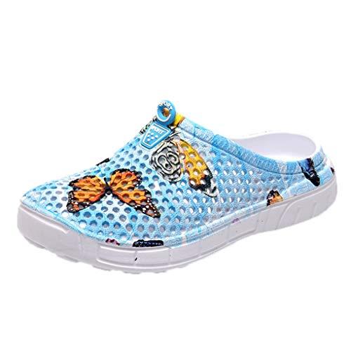 Atmungsaktive Hausschuhe Sandalen für Damen, Dorical Frauen Butterfly Drucken Beach Slipper,Schuhe Badeschuhe Flache Schuhe,Casual Bequeme Outdoor Gartenschuhe 35-42 EU Reduziert(Blau,37 EU) -