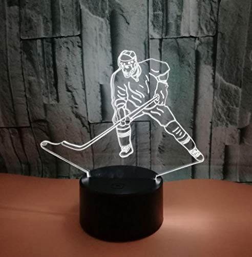 ZJFHL 3D Illusion Lamp Night Light Kawaii Puck Form Tischleuchte 3 AA Batterien oder USB-Kabel Powered Schöne Acryl Material Panel ABS Basis für Tischdekoration und Nacht Dekoration Puck-kabel