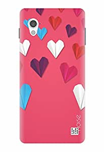 Noise Pink Paper Hearts Printed Cover for InFocus M370