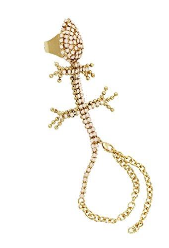 VITTORIO CECCOLI Damen Armband Ring Kombination Handpiece 'Tanzanite Lizard' gold-rosa -