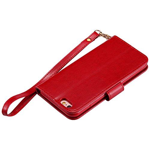 EUWLY Case Cover per iPhone 6/6s (4.7) Custodia Portafoglio PU Pelle Nottilucenti Luminosa Elegante Ragazza e Gatto con Fiori Farfalla Modello Premium Morbido PU Leather Wallet Custodia Case Supporto Rosso