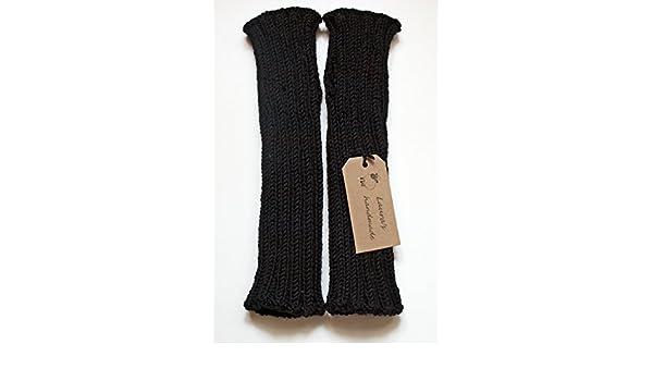 Manicotti neri da donna in pura lana vergine neri senza dita ...  Amazon.it   Handmade 5aab42e2f5ba