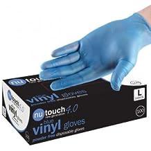 Mejor precio 400 guantes desechables de vinilo para la preparación de alimentos - Polvo - Azul - Talla S