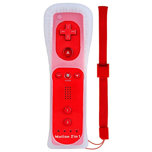 2 in 1 WII Controller Motion Plus, XW18 Nintendo WII Ferbedienung, WII Remote mit Silikonhülle und Handschlaufe für WII und WII U Rot