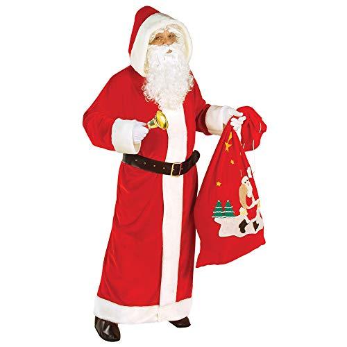 Xxl Kostüm Weihnachtsmann - Widmann Nikolausmantel rot Plüsch, mit Gürtel, Größe XL