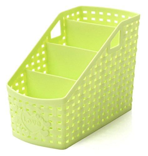 Remote Storage (wicemoon 4Grid sub-grid Kunststoff Storage Box Desktop Klassifikation Organizer Halter Storage Fall Korb Behälter für Remote Controller Kosmetik Halter, plastik, grün, 8.7 x 17 x 13 cm.)