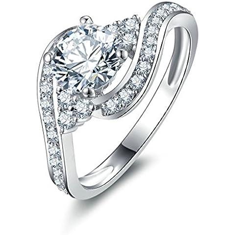 (Personalizzati Anelli)Adisaer Anelli Donna Argento 925 Anello Fidanzamento Incisione Gratuita Rotondo Singola Anello Diamante Twist