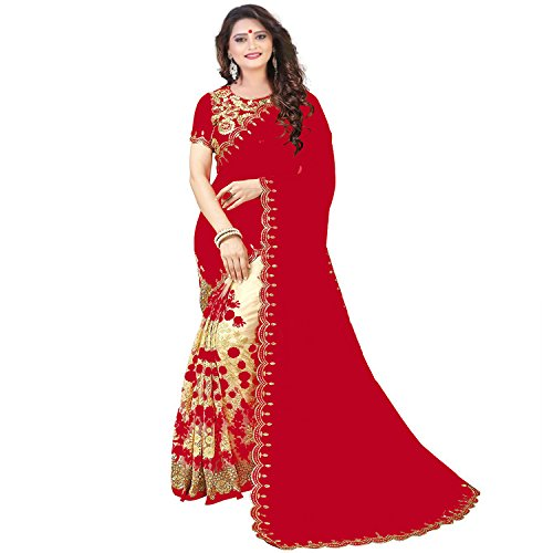Siddeshwary Fab Net Embrodairy Red Designer Saree