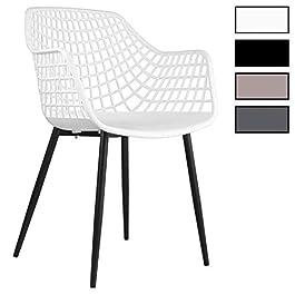 IDIMEX Lot de 4 chaises Lucia pour Salle à Manger ou Cuisine au Design Retro avec accoudoirs, Coque en Plastique Blanc…